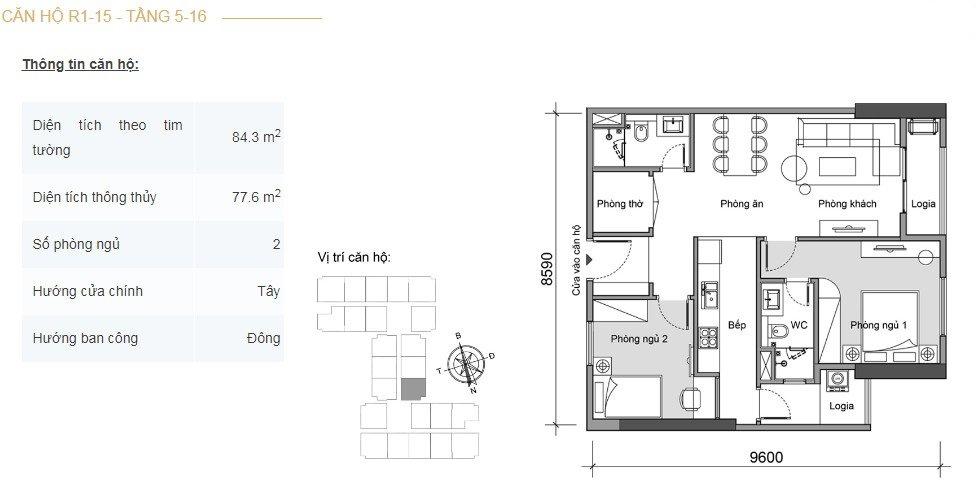 Mặt bằng căn hộ 2 phòng ngủ -5