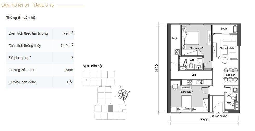 Mặt bằng căn hộ 2 phòng ngủ -1
