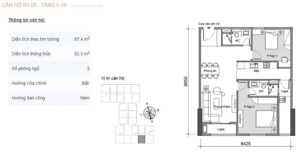 Mặt bằng căn hộ 2 phòng ngủ -2
