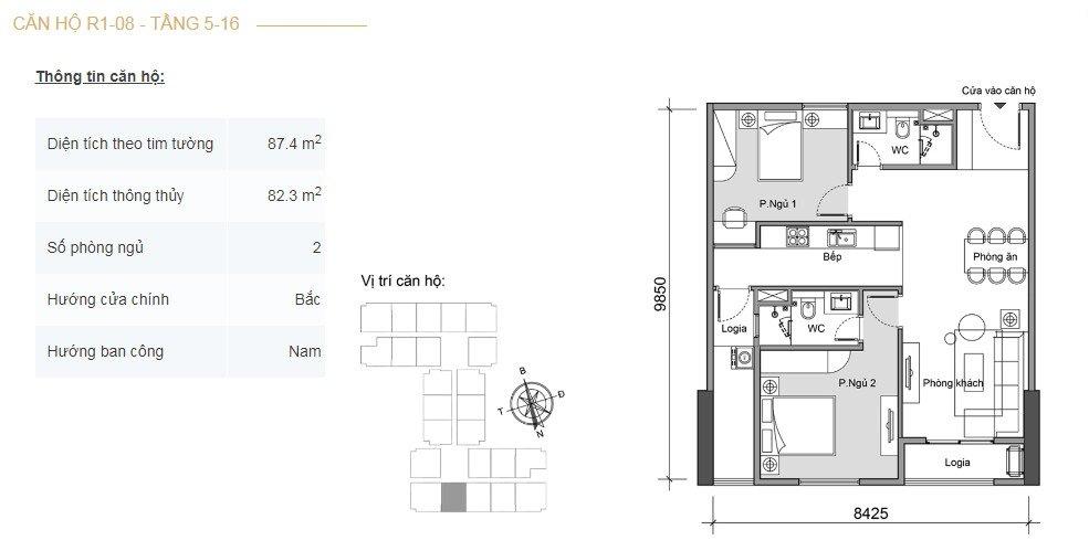 Mặt bằng căn hộ 2 phòng ngủ -3