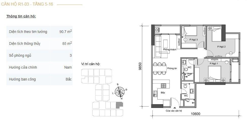 Mặt bằng căn hộ 3 phòng ngủ -2