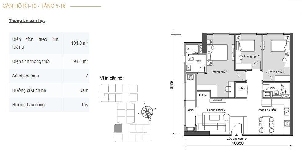 Mặt bằng căn hộ 3 phòng ngủ -3