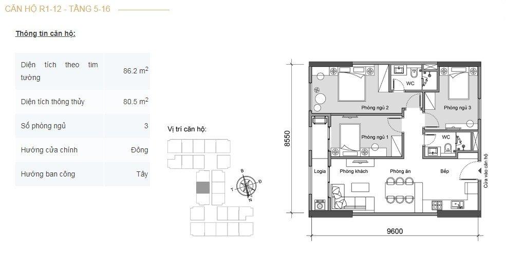 Mặt bằng căn hộ 3 phòng ngủ -4