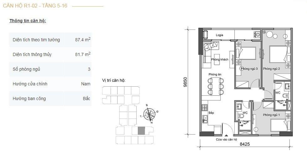 Mặt bằng căn hộ 3 phòng ngủ -1