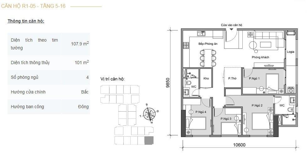 Mặt bằng căn hộ 4 phòng ngủ -1