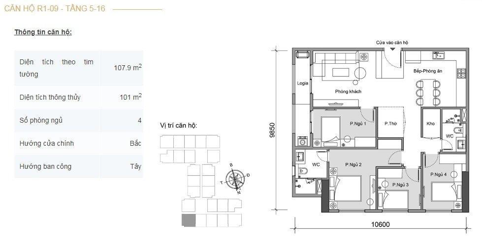 Mặt bằng căn hộ 4 phòng ngủ -2