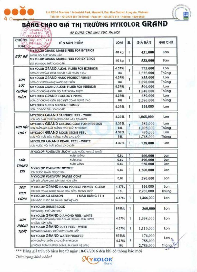 Bảng giá bán lẻ các loại sơn Mykolor mới 2020 - Bảng 1