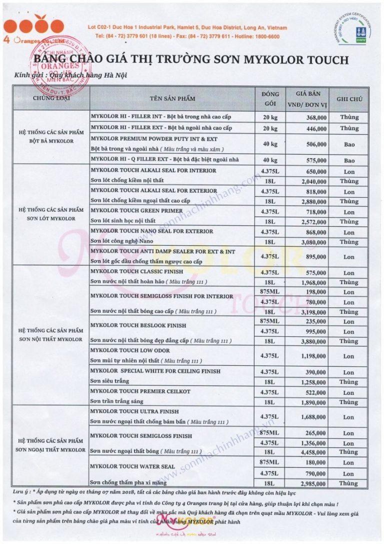 Bảng giá bán lẻ các loại sơn Mykolor mới 2020 - Bảng 2