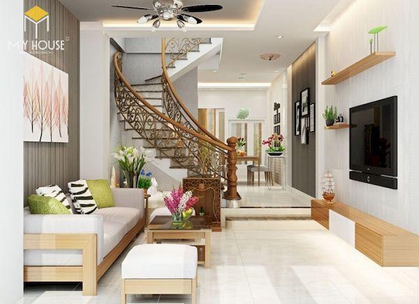 Phòng khách nhà ống 5m có cầu thang - Mẫu 15