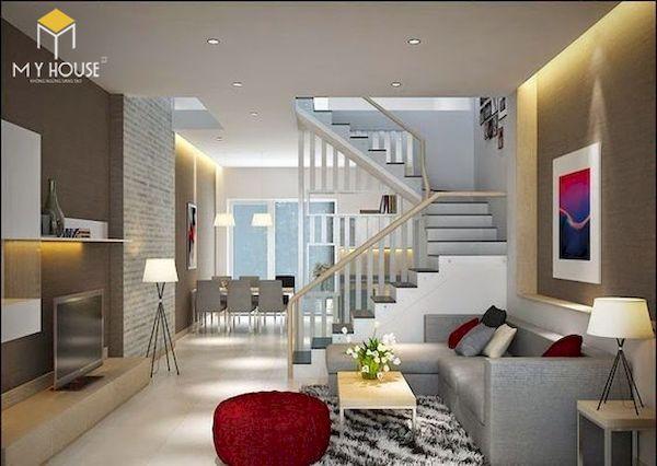 Phòng khách nhà ống 5m có cầu thang - Mẫu 8