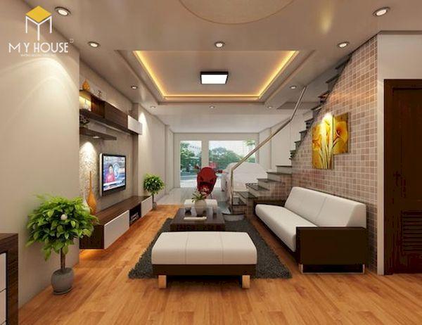 Phòng khách nhà ống 5m có cầu thang - Mẫu 6