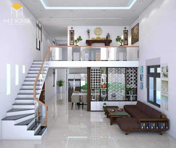 Phòng khách nhà ống 5m có cầu thang - Mẫu 4
