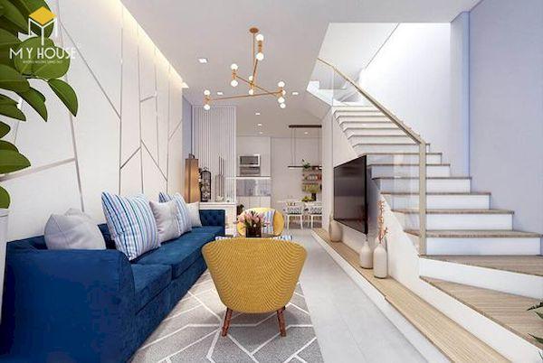 Phòng khách nhà ống 5m có cầu thang - Mẫu 1