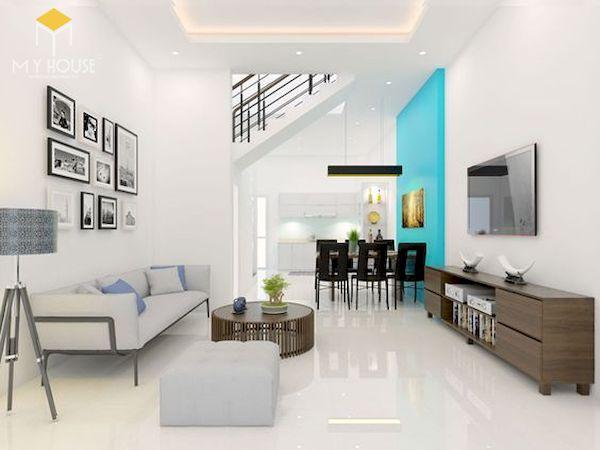 Mẫu phòng khách nhà ống 5m theo hướng nội thất đơn giản