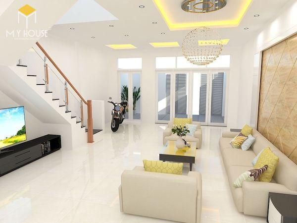 Phòng khách nhà ống 5m có cầu thang - Mẫu 14