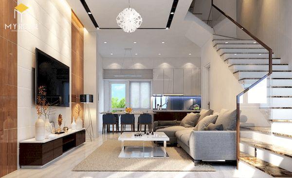 Phòng khách nhà ống 5m có cầu thang - Mẫu 13