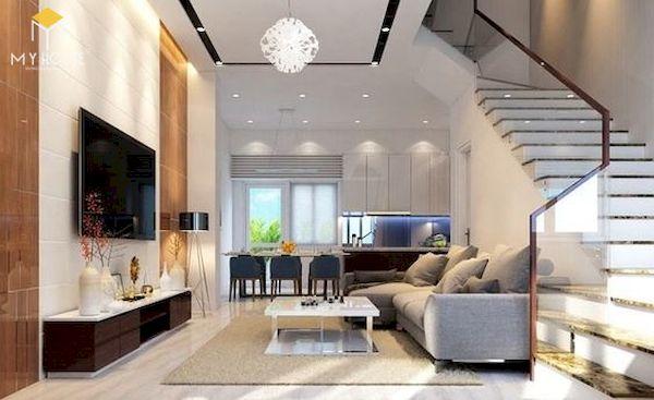 Phòng khách nhà ống 5m có cầu thang - Mẫu 11