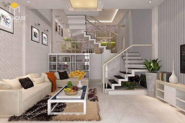 Phòng khách nhà ống 5m có cầu thang - Mẫu 10
