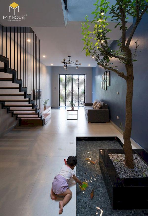Phòng khách nhà ống 5m có cầu thang - Mẫu 9