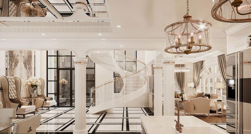 Mẫu thiết kế căn hộ Duplex Vinhomes West Point Phạm Hùng phong cách tân cổ điển