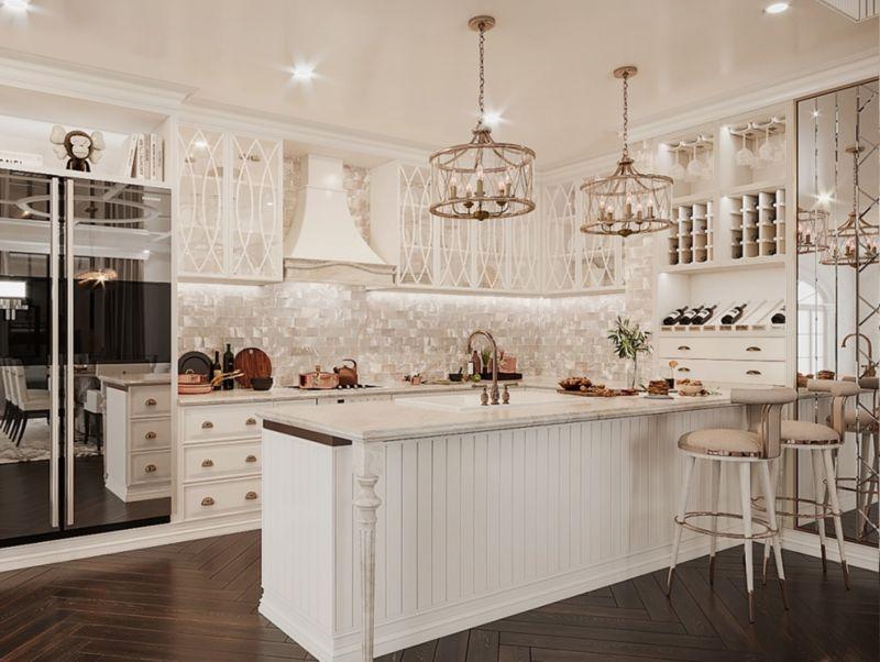 Thiết kế căn hộ Duplex Vinhomes West point - tủ bếp chữ U cho phòng bếp rộng
