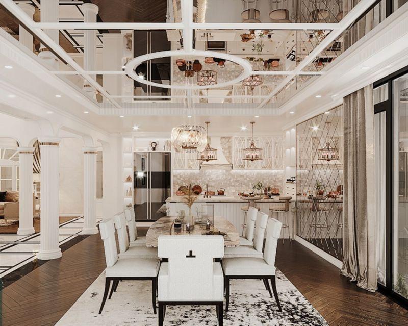 Thiết kế căn hộ Duplex Vinhomes West point với phòng bếp và phòng ăn sang trọng