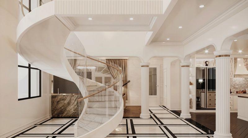 Thiết kế căn hộ Duplex Vinhomes West point - cầu thang xoắn màu trắng thiết kế ấn tượng