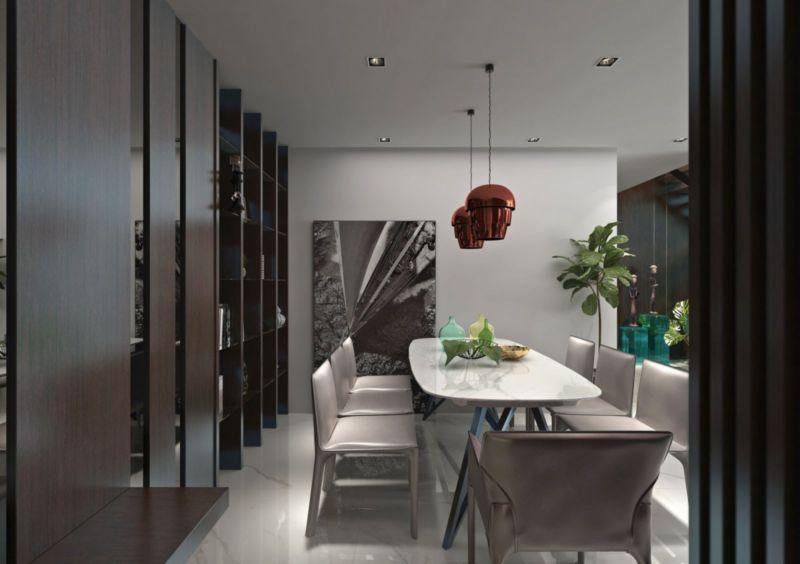 Phòng ăn với bộ bàn ăn mặt đá dành cho 6 - 8 người