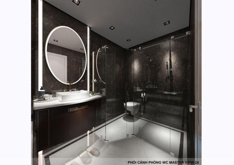 Phòng Wc với thiết kế đơn giản nhưng phù hợp với tổng thể nội thất
