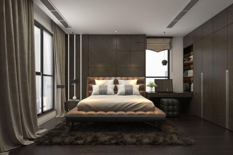Mẫu phòng ngủ sử dụng màu tối sang trọng