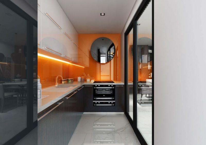 Nội thất phòng bếp sử dụng màu sắc phá cách và nổi bật với tấm acrylic màu cam bóng gương
