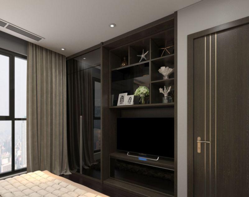 Hệ tủ tivi kết hợp tủ trang trí âm tường phòng ngủ để tiết kiệm không gian