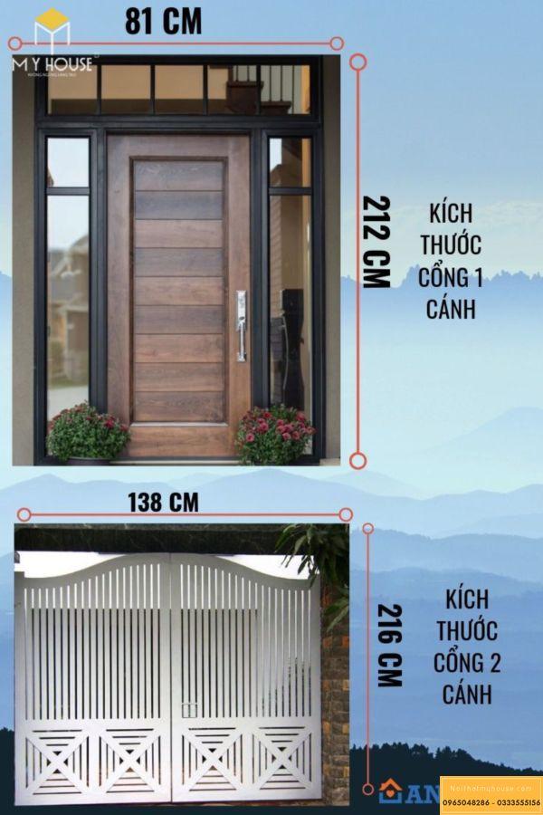 Kích thước cổng nhà theo lỗ ban hệ cửa 1 cánh