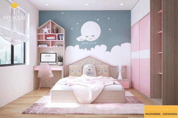 Thiết kế phòng ngủ nhỏ 10m2 cho bé gái - mẫu 9