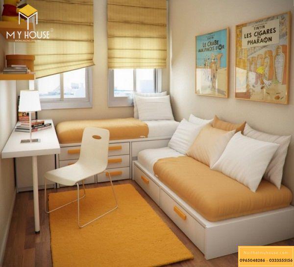 Nội thất phòng ngủ kết hợp giường ngủ và tủ - mẫu 3