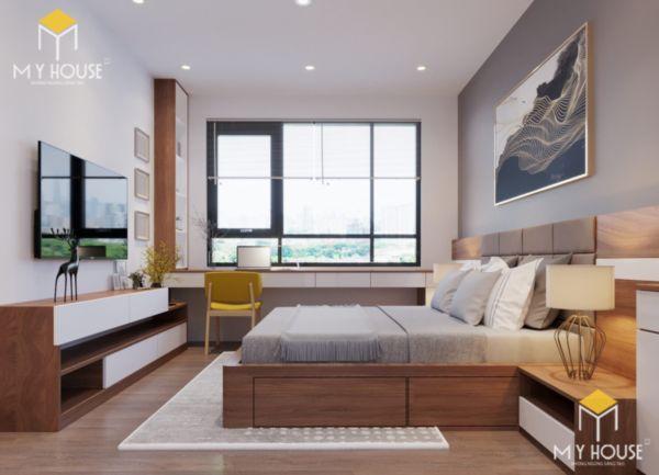 Giường gỗ sồi sơn màu óc chó - hình 2