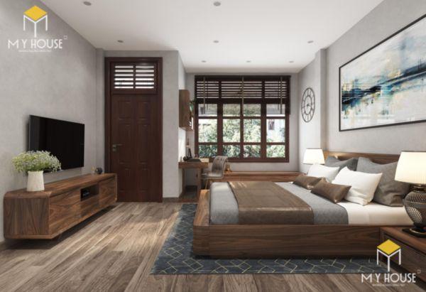 Giường gỗ sồi sơn màu óc chó - hình 3