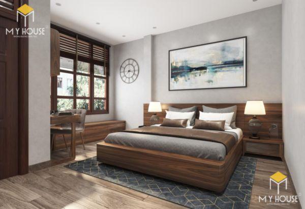 Giường gỗ sồi sơn màu óc chó - hình 4