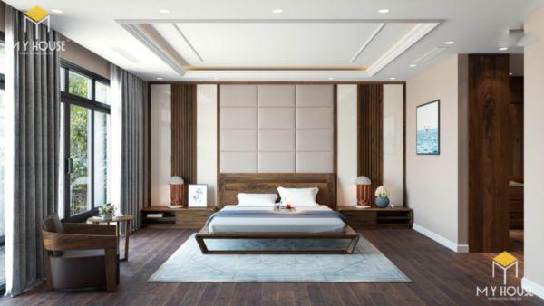 Giường gỗ sồi sơn màu óc chó - hình 5