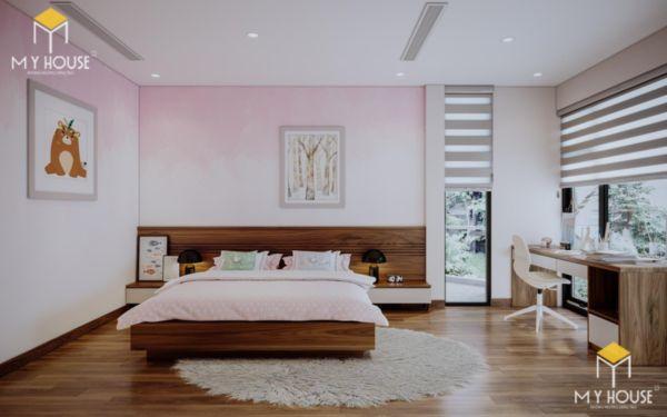 Giường gỗ sồi sơn màu óc chó - hình 6