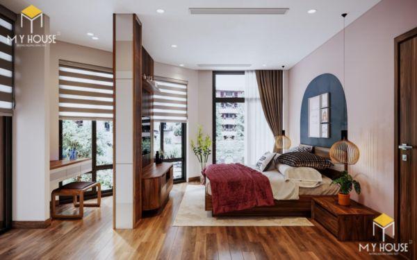 Giường gỗ sồi sơn màu óc chó - hình 7