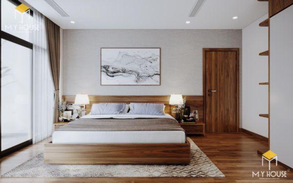 Giường gỗ sồi sơn màu óc chó - hình 8