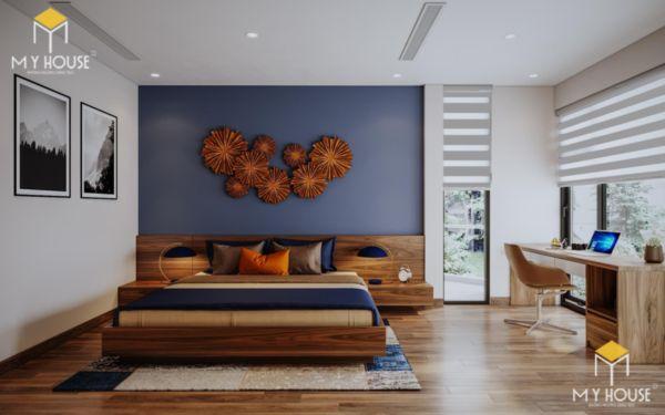 Giường gỗ sồi sơn màu óc chó - hình 9
