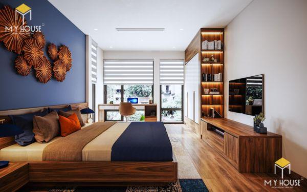 Giường gỗ sồi sơn màu óc chó - hình 10