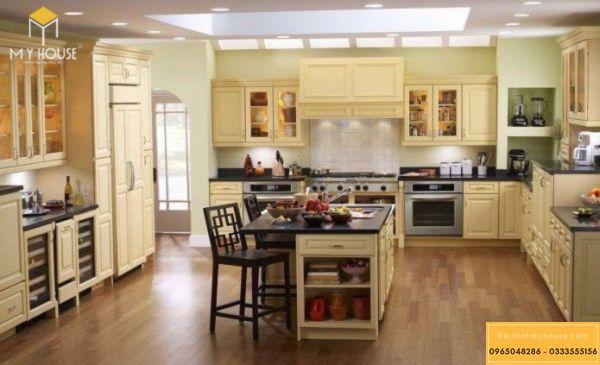 Tủ bếp sơn bệt màu đẹp