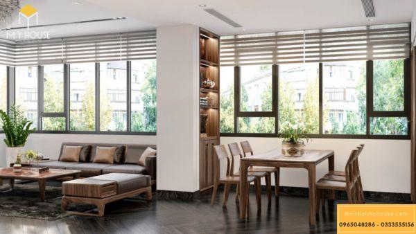 Thiết kế nội thất Vinhomes Symphony sử dụng gỗ óc chó - hình 13