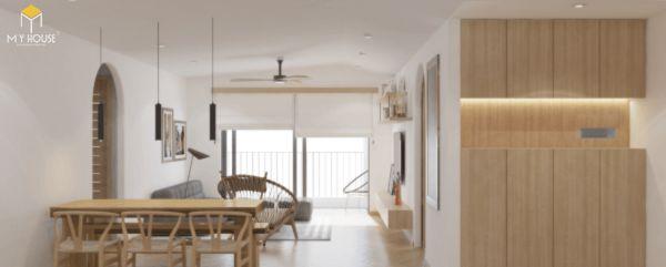 Thiết kế căn hộ chung cư 50m2 2 phòng ngủ 3