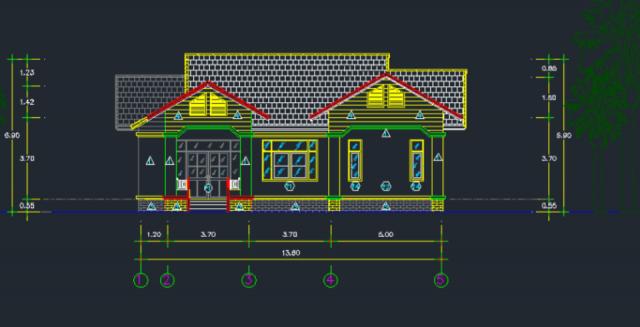 Bản vẽ nhà cấp 4 11×13m