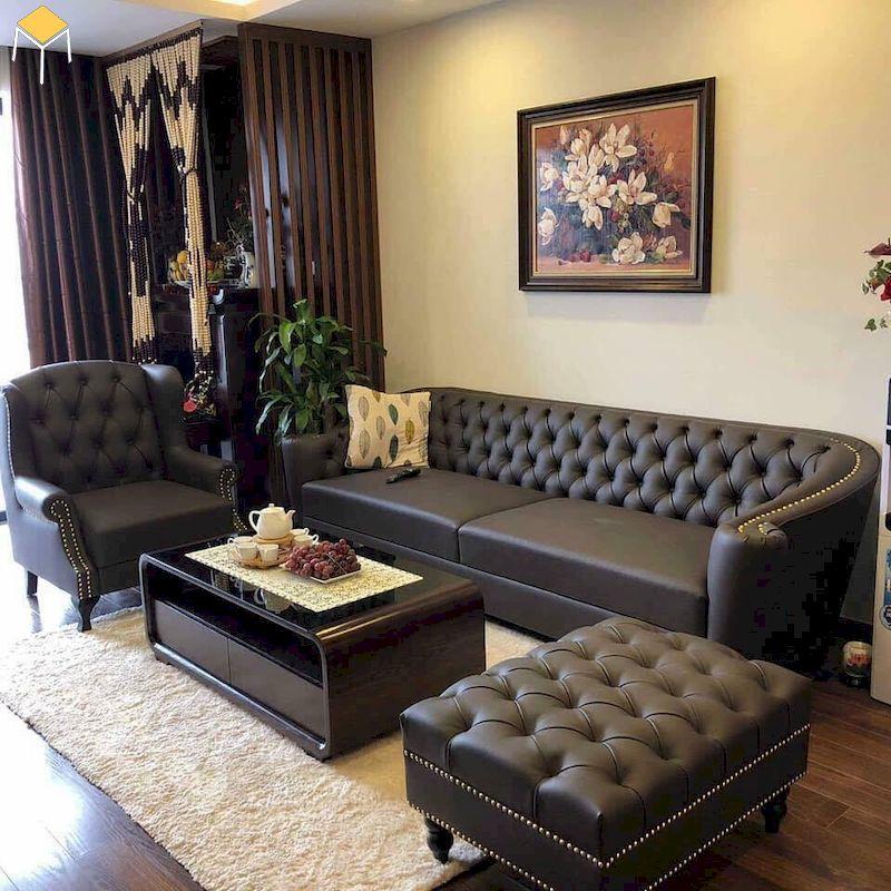 Mẫu bàn ghế sofa da phòng khách đẹp