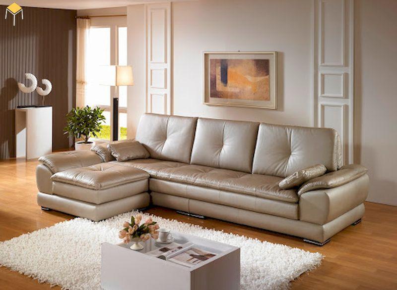 Mẫu bàn ghế sofa da phòng khách hiện đại chữ L